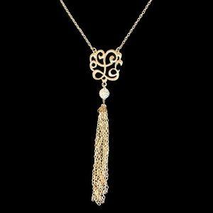 Gold Tone Fashion Filigree Tassel Long Necklace